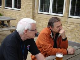 Mike Durham (left) and Rene Hagmann, pensive, at Whitley Bay, probably 2010. Photo by Michael Steinman