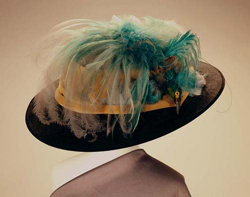 Hat with bird of paradise feathers circa 1900