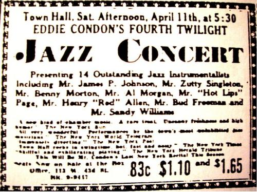 A New York Times advertisement for a Condon concert, 1942: courtesy of MULE WALK AND JAZZ TALK
