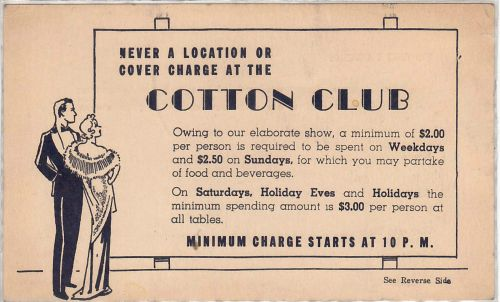 COTTON CLUB front