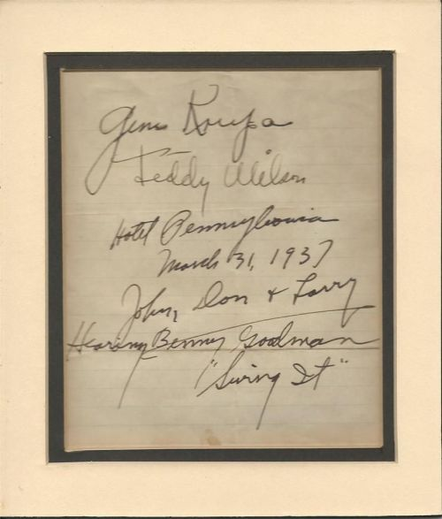 GENE KRUPA TEDDY WILSON 1937 signatures