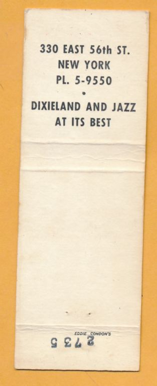 EDDIE CONDON'S matchbook back