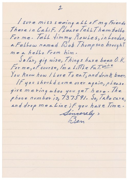 BEN LETTER TWO