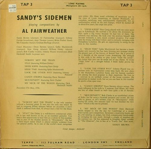 SANDY'S SIDEMEN lp back