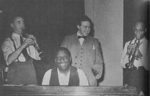 MEzz, James P. Johnson, Hughes Panassie, Tommy Ladnier at the Victor studios