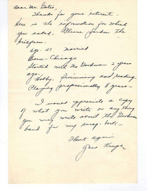 GENE KRUPA letter