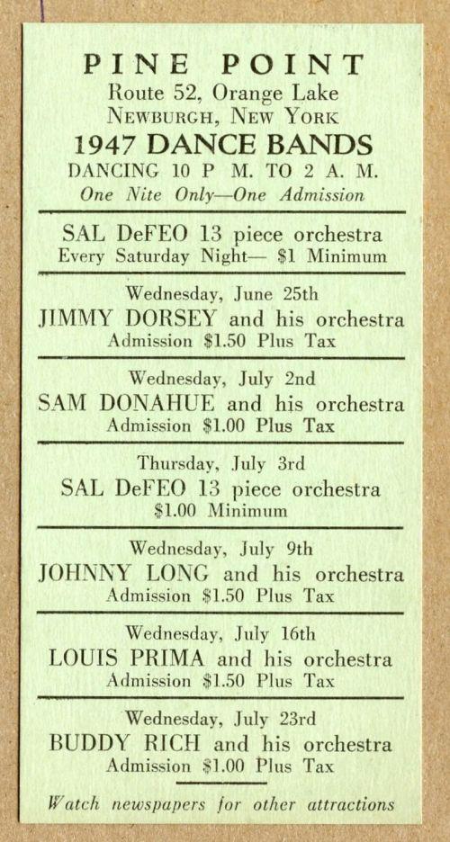 PINE POINT 1947 schedule