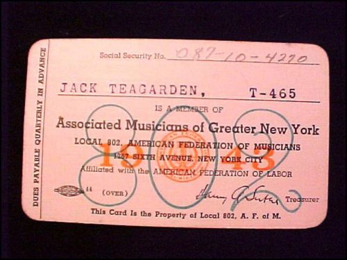 JACK TEAGARDEN union card front
