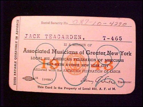 JACK TEAGARDEN union card front