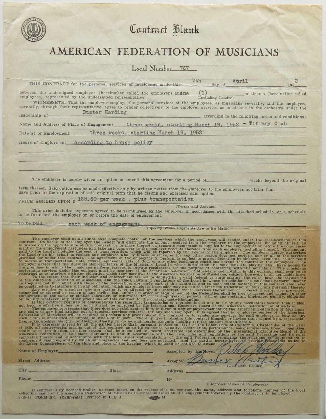 billie-1952-contract